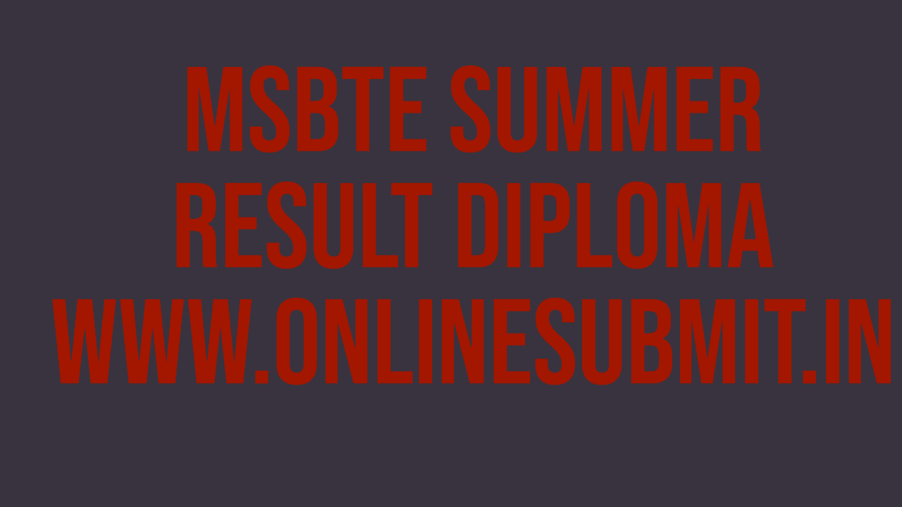 MSBTE Result summer